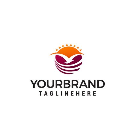 fly bird sun logo design concept template vector 写真素材 - 121012720