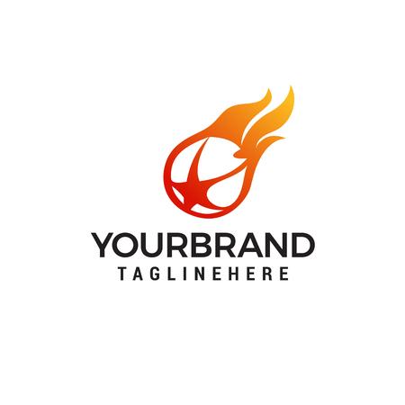 炎のボールスターロゴデザインテンプレートベクトル