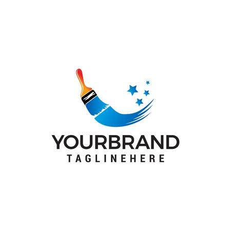 Vector de plantilla de concepto de diseño de logotipo de pincel de pintura