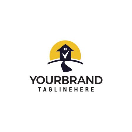Road house check mark logo design concept template vector Logo