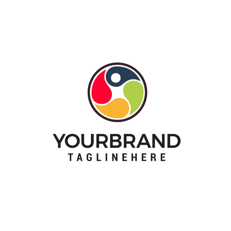 human health care logo, physiotherapy logo, human jump logo, p Letter logo Illustration