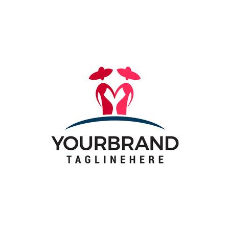 two woman logo design concept template vector Illusztráció