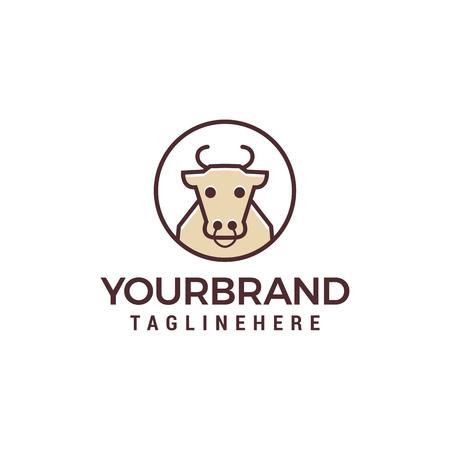 Cow line logo design concept template vector