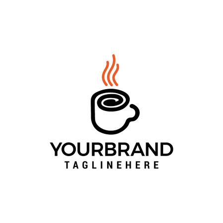 Coffee glass line logo design concept template vector