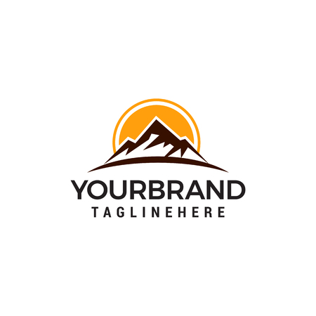 Mountain sun logo design concept template vector