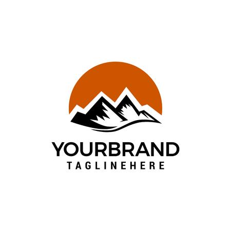 Bergsonne-Logo-Design-Konzept-Vorlage-Vektor Logo