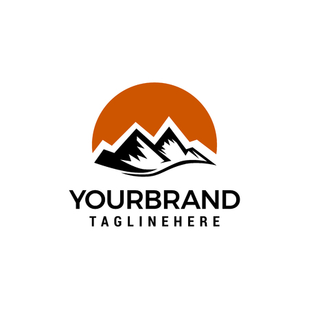Mountain sun logo design concept template vector Çizim