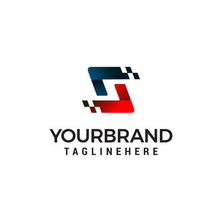 Letter S pixel logo design concept template vector