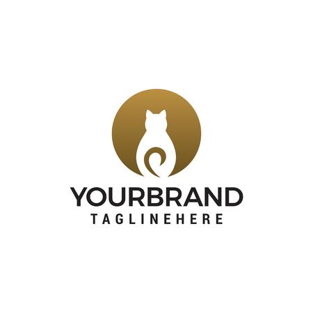 Cat circle logo design concept template vector