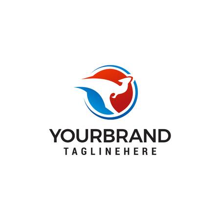 vector de plantilla de concepto de diseño de logotipo de canguro