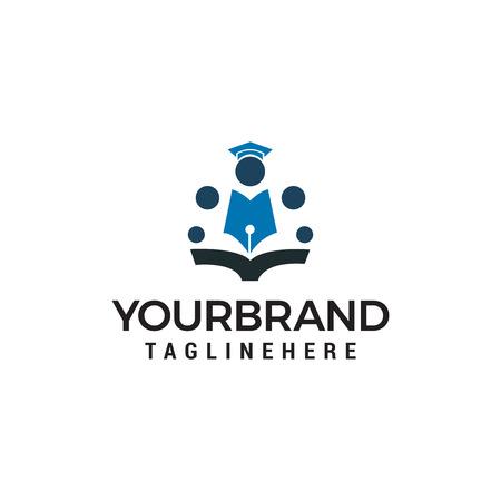 Education School people logo design concept template vector