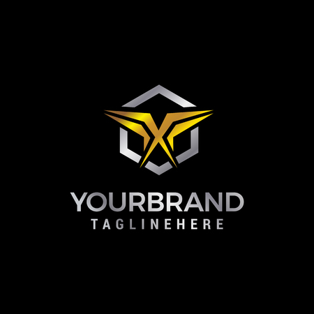 letter x gold logo design concept template vector Illustration