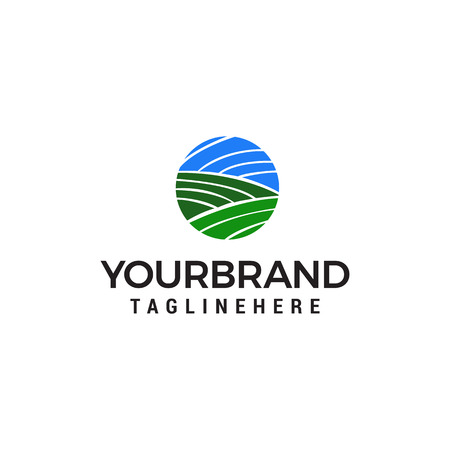 green landscape agriculture logo design concept template vector