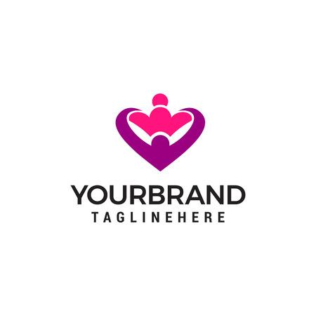 hug love heart logo design concept template vector