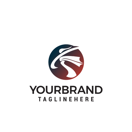 karate athlete logo design concept template vector
