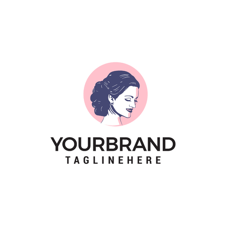 Beauty and salon woman logo design concept template vector