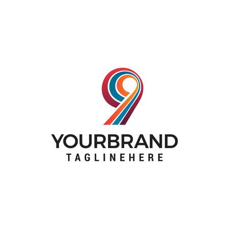 number 9 logo design concept template vector Illustration