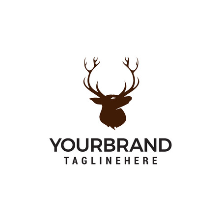 head deer logo design concept template vector