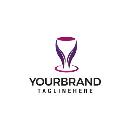 Bar Nightclub logo, Wine glass design concept template vector