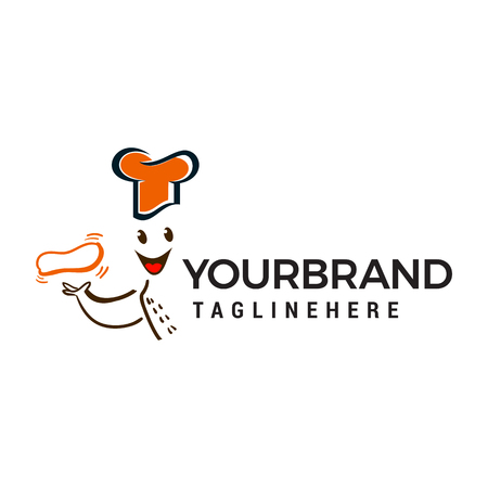 chef with food in hand logo design concept template vector