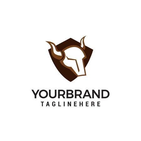 head bull shield logo design concept template vector