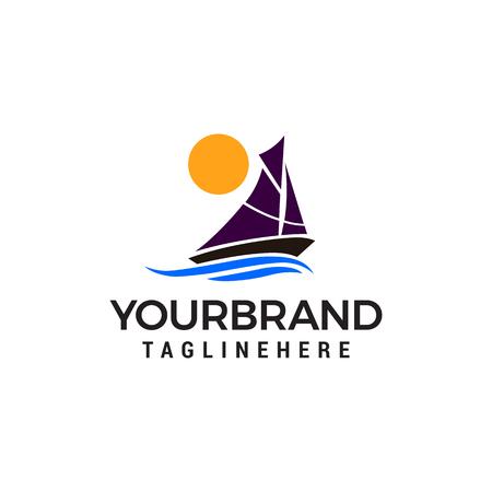 Sailing ship sun logo design concept template vector Иллюстрация