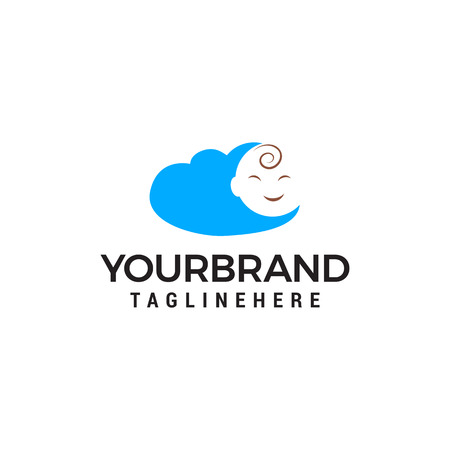 baby face cloud logo design concept template vector Illustration
