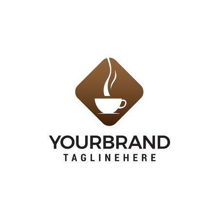 coffee and tea glass logo design concept template vector Illustration