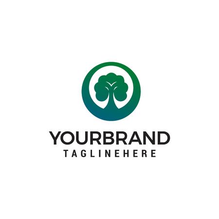 green tree lanscape logo design concept template vector Illustration