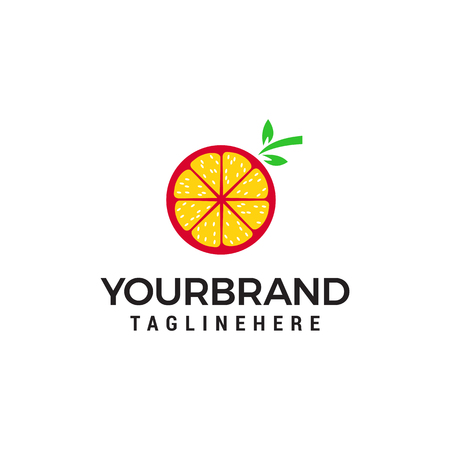 orange fruit logo design concept template vector 向量圖像