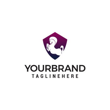 horse shield logo design concept template vector