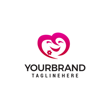 face cute heart emoji logo design concept template vector