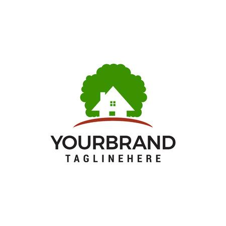 eco house logo design concept template vector Ilustração