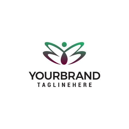 women butterfly logo design concept template vector
