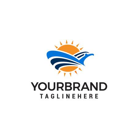 Bird and sun logo design concept template vector