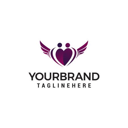 family love wing logo design concept template vector
