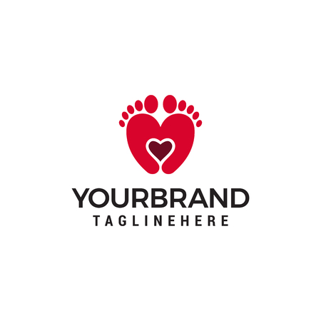 Two feet and heart logo design concept template vector Illustration