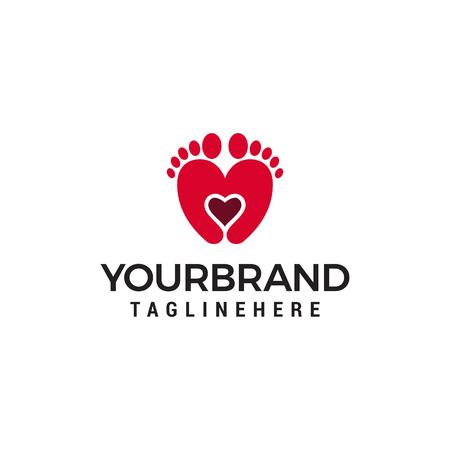 Two feet and heart logo design concept template vector Archivio Fotografico - 122373112