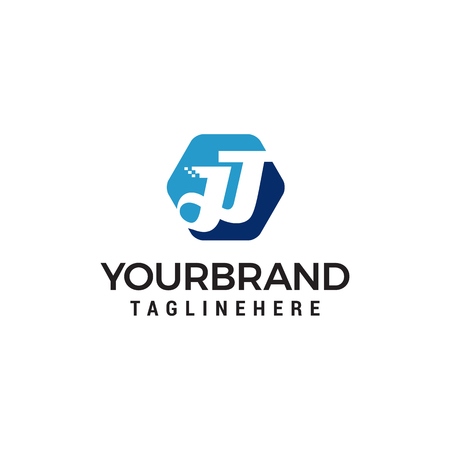 letter jj hexagon logo design concept template vector