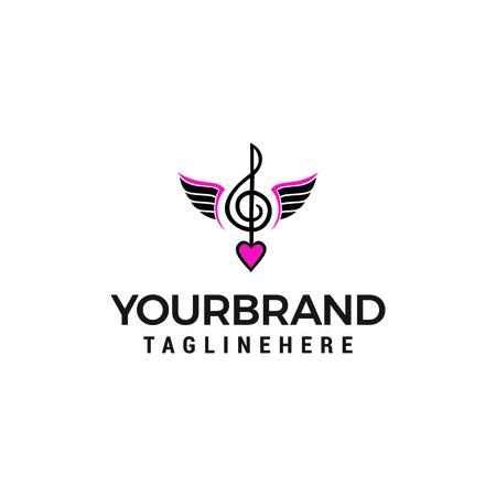 note Music logo design concept template vector