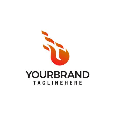 fireball Fire flame logo design concept template vector