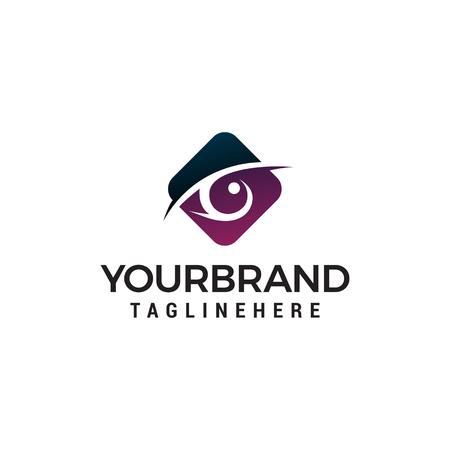eyes hexagon logo design concept template vector Illustration