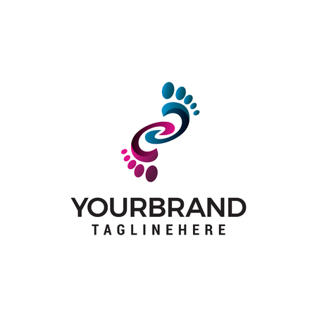 foot logo design concept template vector Illustration