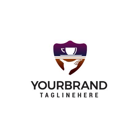 coffee hand logo design concept template vector