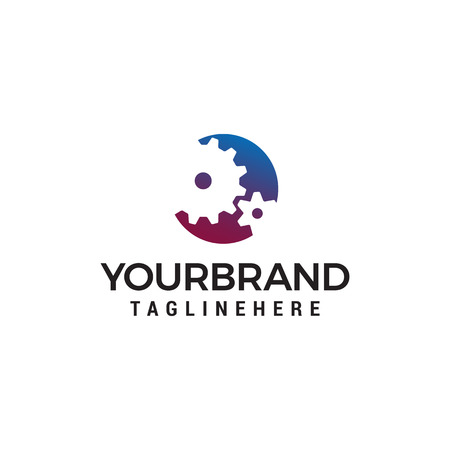 industrial Gear Shape Logo design concept template vector Illustration