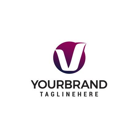 letter v circle logo design concept template vector