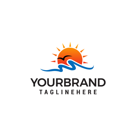 sun beach logo design concept template vector