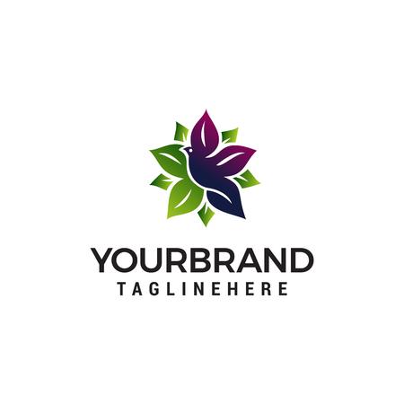 bird leaf logo design concept template vector