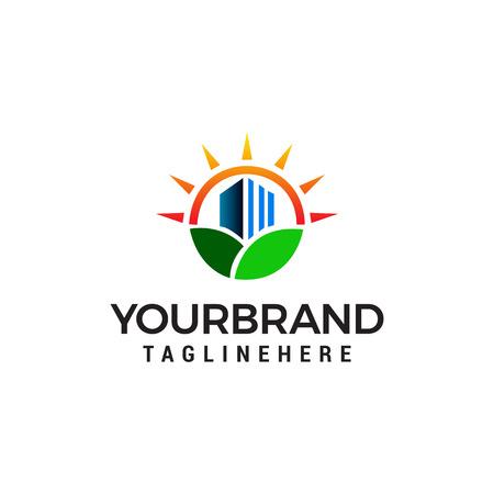 natura immobiliare logo design concept template vettoriale. Concetti del logo della città verde
