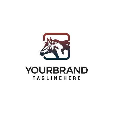 square horse logo design concept template vector Illustration